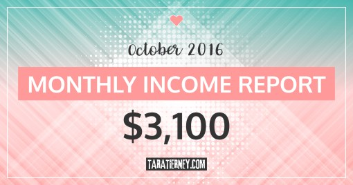 Monthly Blogging Income Report – October 2016