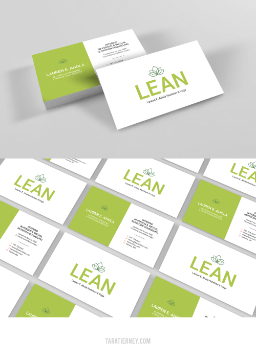 Green White Business Cards - LEAN