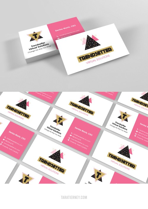 Pink Gold Black White Business Cards - Trendsetter Virtual Solutions