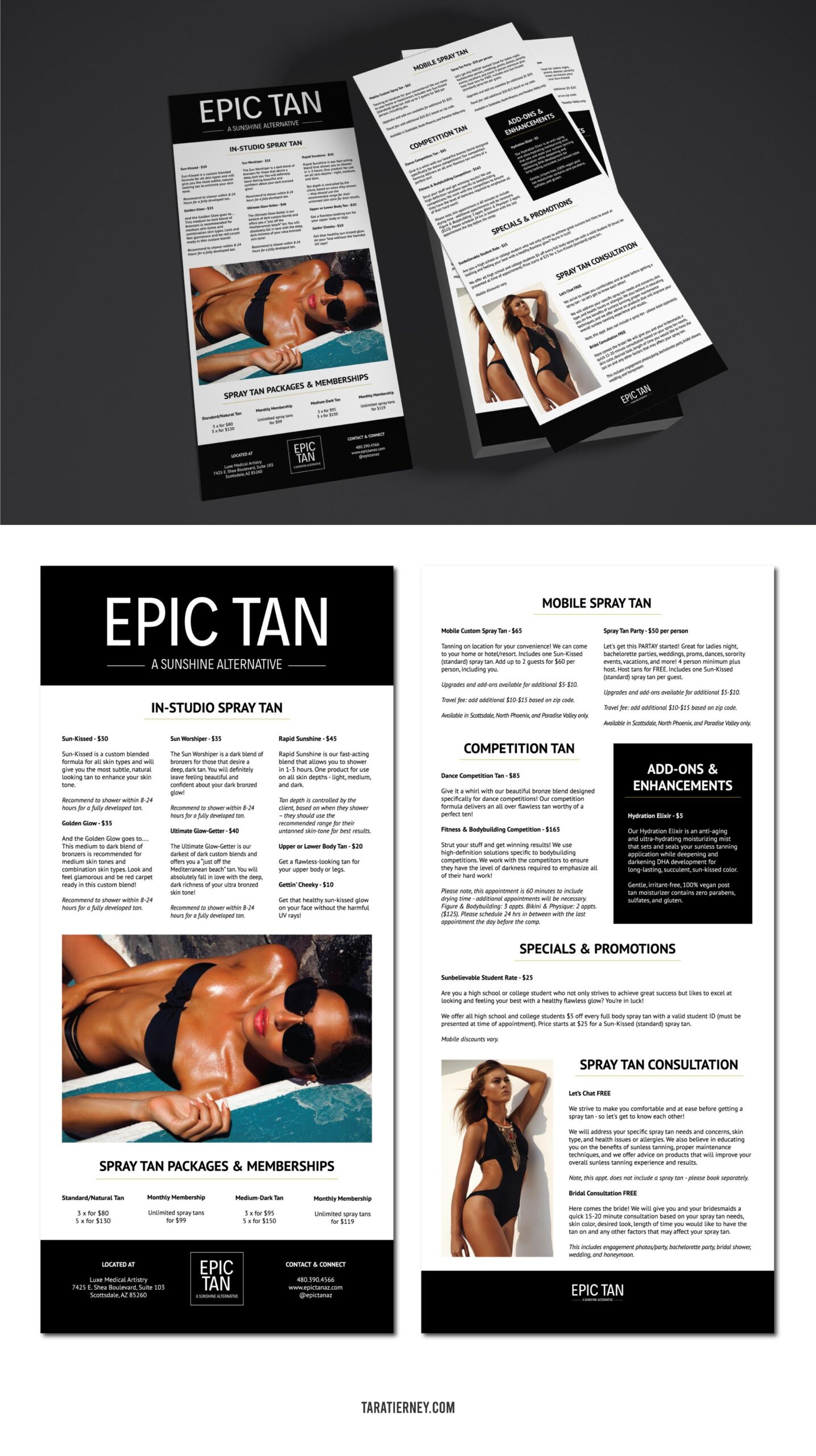 Rack Cards Epic Tan Spray Tanning