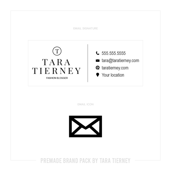 Premade Email Signature + Email Icon for Black + White Fashion Blogger Brand