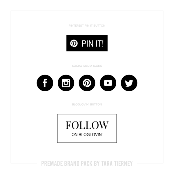 Premade Social Buttons for Black + White Fashion Blogger Brand