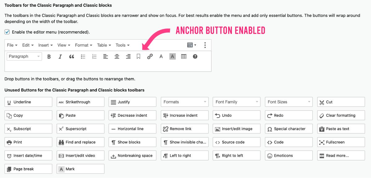 Anchor Button Enabled - Block Editor