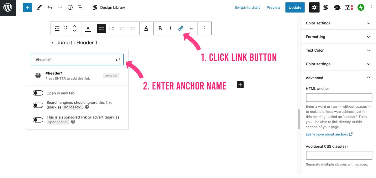 Enter anchor name in gutenberg