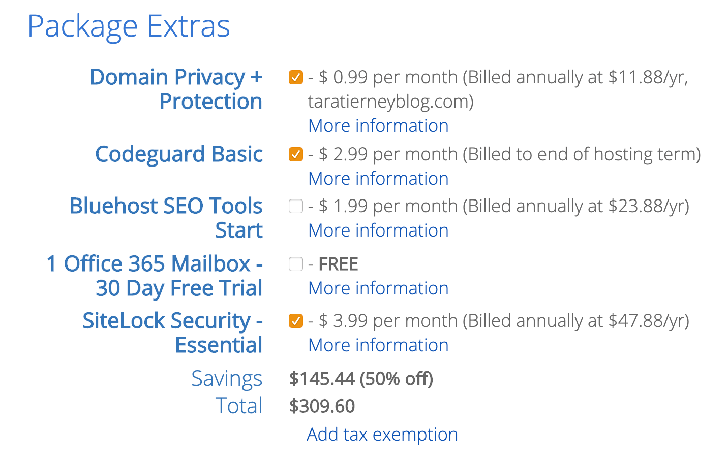 5 - Choose Your Hosting Package Extras