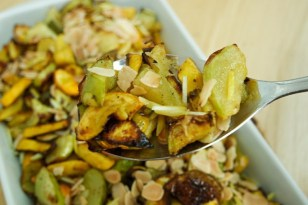 Roasted Courgettes with Toasted Almonds and Quick Pickled Lemon