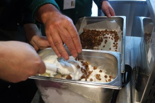 Amaro-soaked caramelised breadcrumbs being tossed into the gelato - so good!