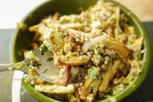 Lemon zest and juice brighten this seasonal parsnip and leek salad.