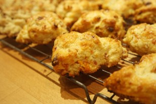 Freshly baked apricot scones