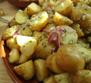 Warm Potato Salad with Pickled Onions