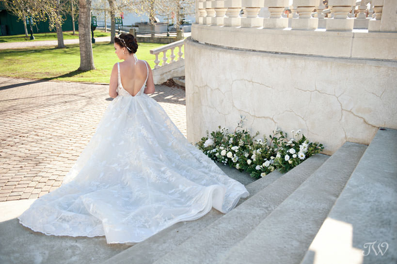 Bride on the Grand Staircase at Spruce Meadows captured by Tara Whittaker Photography