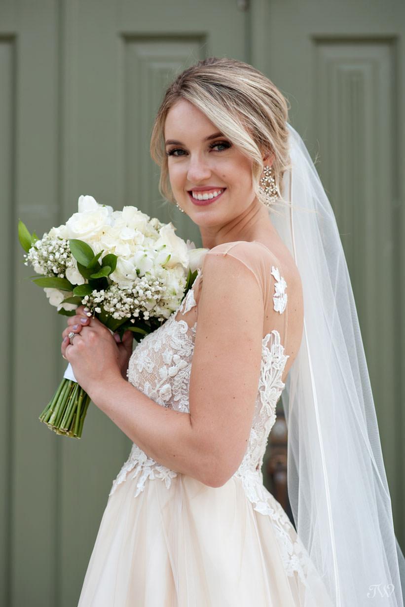 bridal portrait at St Stephen's Church captured by Calgary wedding photographer Tara Whittaker