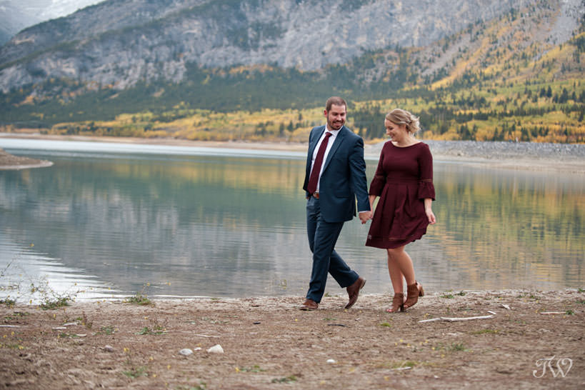 bride and groom during their barrier lake engagement session Tara Whittaker Photography