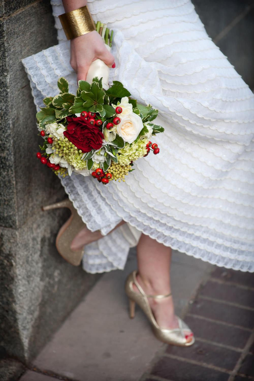 Bride holding her bridal bouquet Calgary wedding portfolio Tara Whittaker