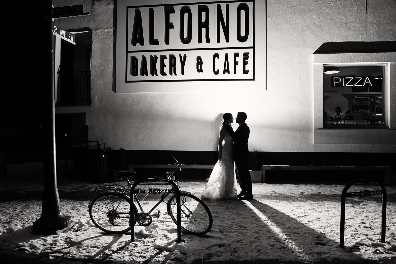 bride and groom outside Alforno, one of Calgary's best wedding venues