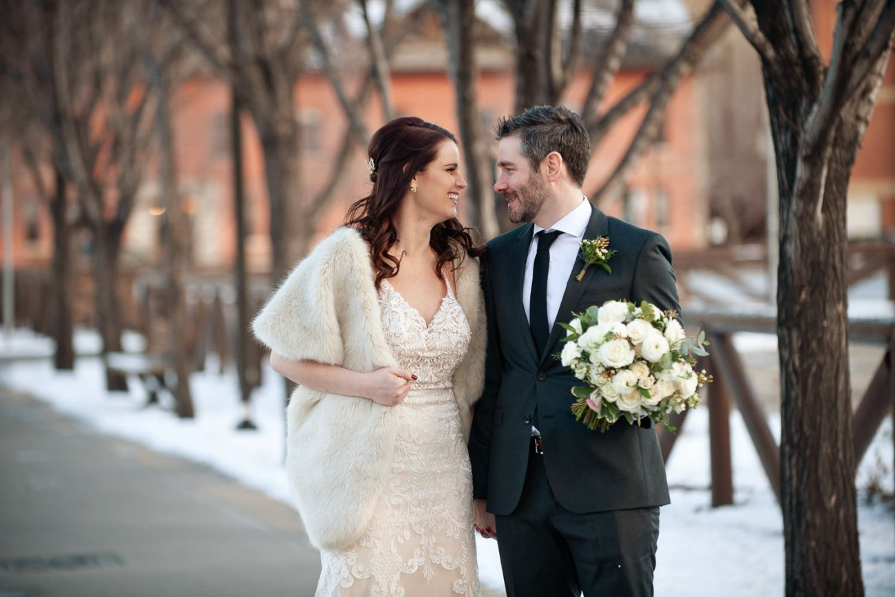 bride and groom on the way to their winter wedding captured by Tara Whittaker Photography
