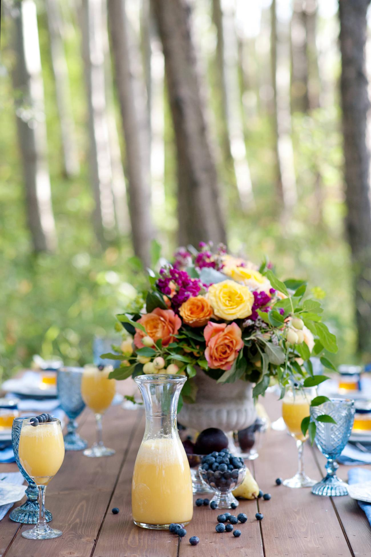 Mimosas on a tabletop for a brunch wedding captured by Tara Whittaker Photography