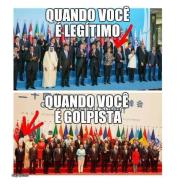 Como que aparece na forto do G20 quando o representante é legitmo (e tem prestígio) ou quando é ilegitmo Ie sem nenhum prestígio a não ser para os golpistas tupiniquins como Bobro Gropista).
