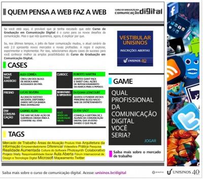 QUEM PENSA A WEB FAZ A WEB  CURSO DE COMUNICAÇÃO DIGITAL UNISINOS