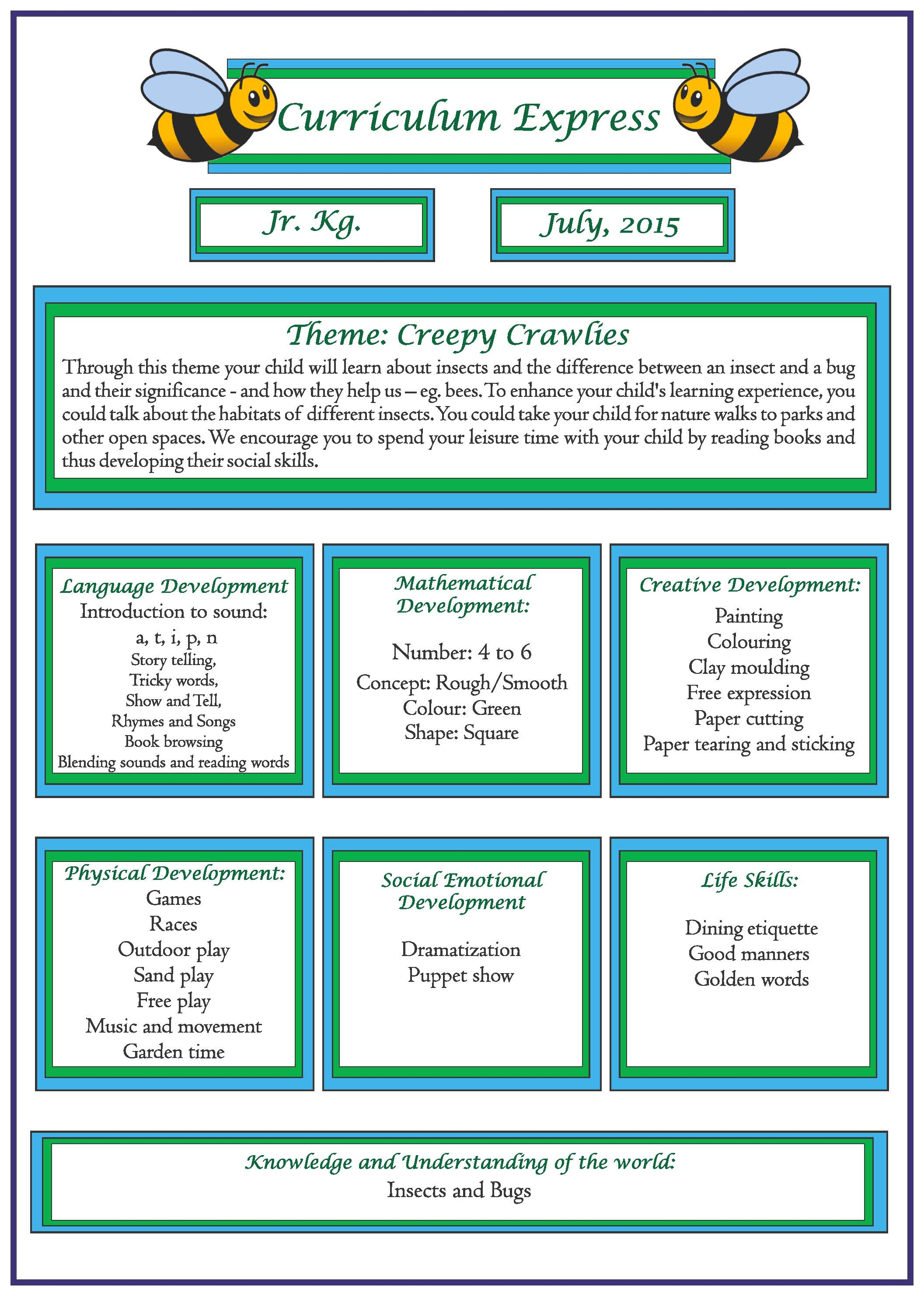 Curriculum Express For The Month Of July Jr