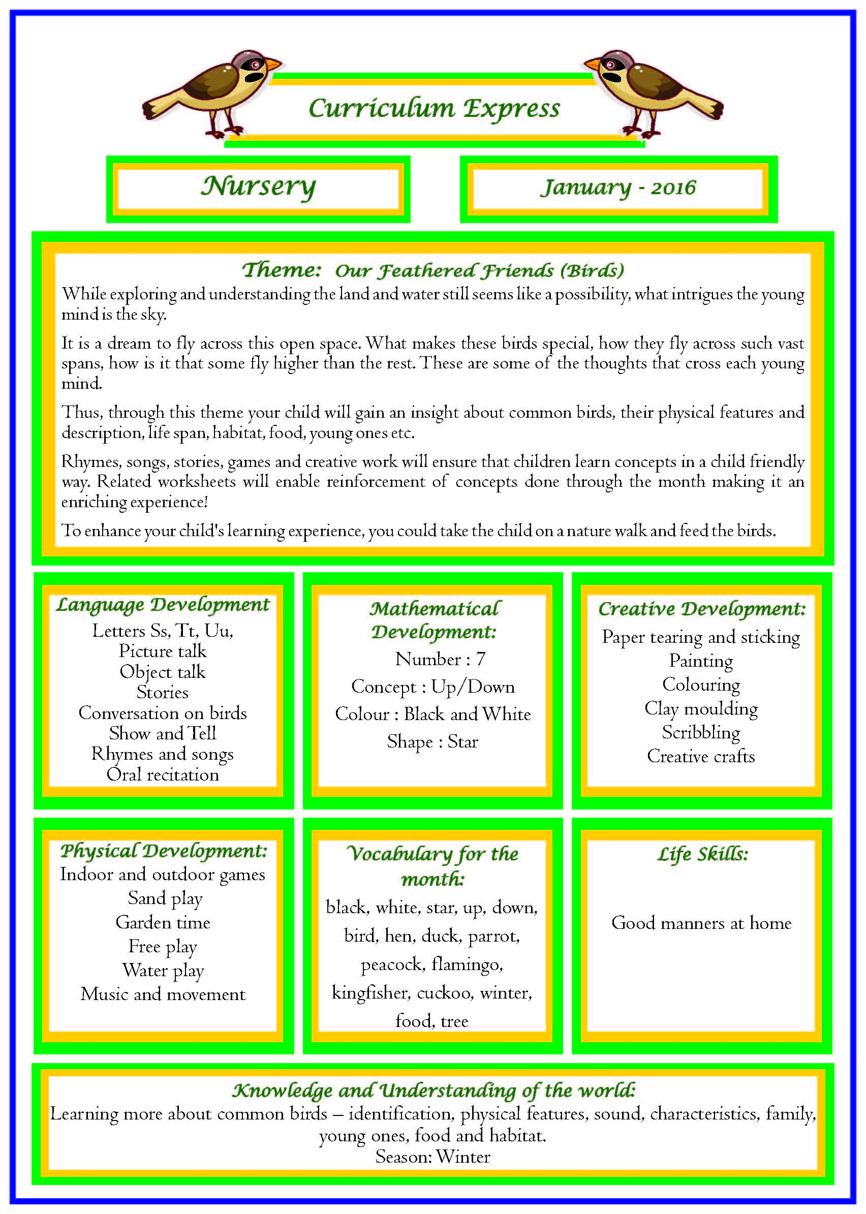 Curriculum Express For The Month Of January Nursery