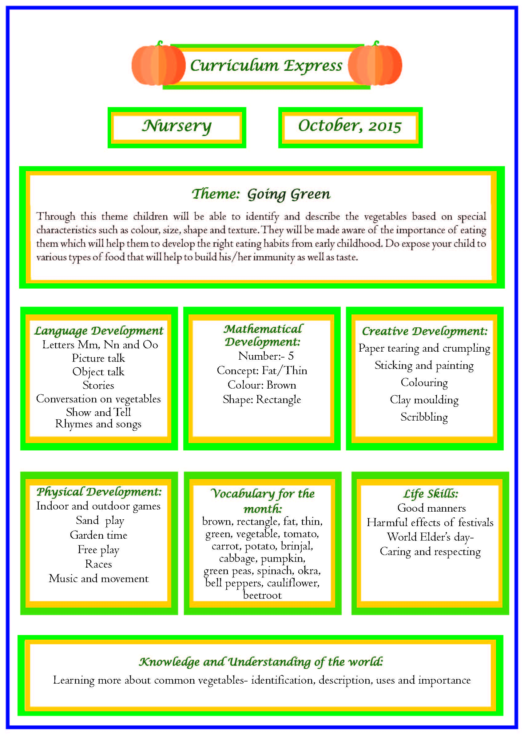 Curriculum Express For The Month Of October Nursery
