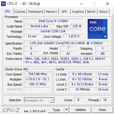 Intel Core i9-11900K Breaks 7 GHz Barrier at 1.873 V
