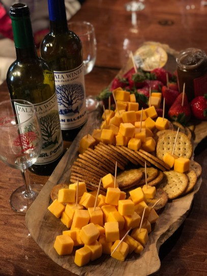 Nothing better than cheese, crackers and fruit with your wine!