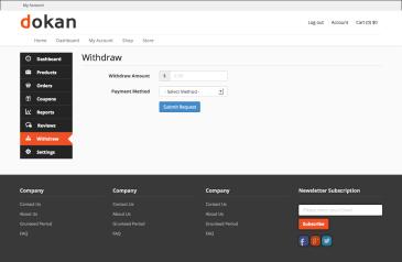 Dokan Send money withdraw request