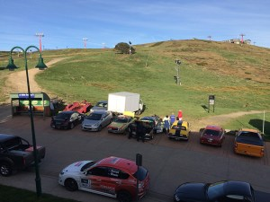 Competitors prepare their cars on Mt Buller on a perfect day for Targa High Country.