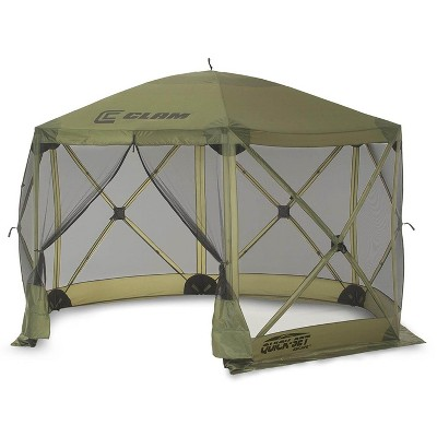 clam quick set escape 12 x 12 foot portable pop up outdoor camping gazebo screen tent 6 sided canopy shelter with ground stakes and carry bag green