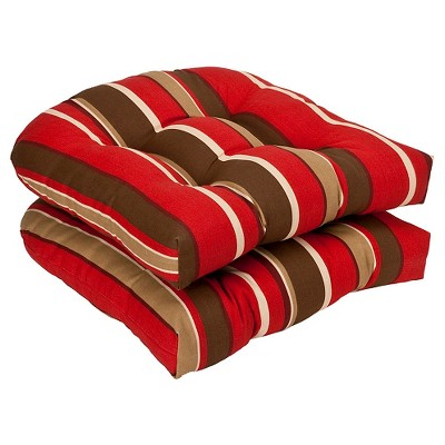 2 piece outdoor chair cushion set brown red stripe pillow perfect