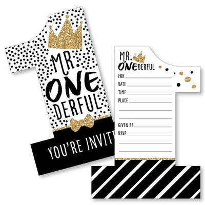 big dot of happiness 1st birthday little mr onederful shaped fill in invites boy first birthday party invitation cards with envelopes set of 12