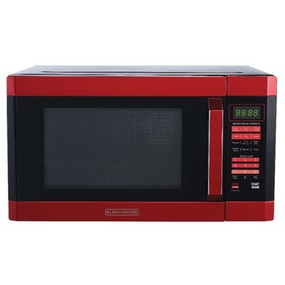 black decker 1 6 cu ft 1100w microwave oven red