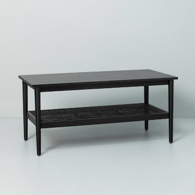 wood cane coffee table black hearth hand with magnolia