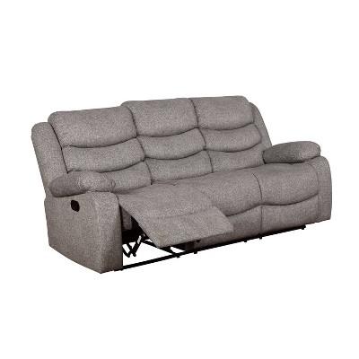 reston pillow top arms recliner sofa light gray mibasics