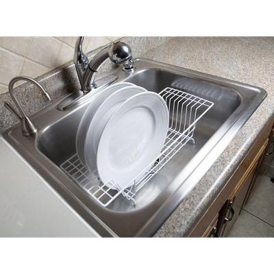 home basics vinyl coated steel over the sink rack white