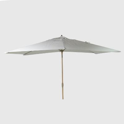 10 x 6 rectangular patio umbrella duraseason fabric linen light wood pole threshold