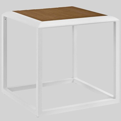stance outdoor aluminum patio side table white modway