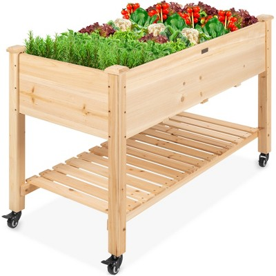 best choice products raised garden bed 48x24x32in mobile elevated wood planter w lockable wheels storage shelf liner