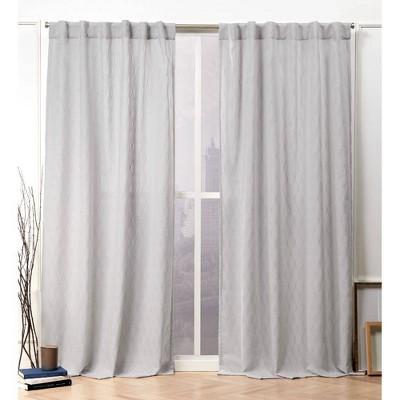set of 2 84 x54 tangled hidden tab top sheer curtain panel silver nicole miller