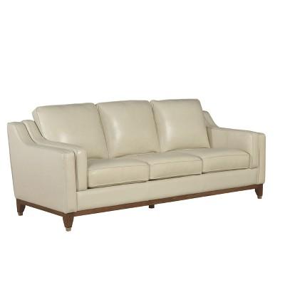 allie top grain leather sofa cream abbyson living