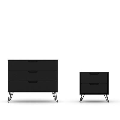 rockefeller dresser and nightstand set black manhattan comfort