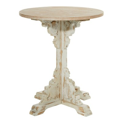 small round antique wood accent table white olivia may