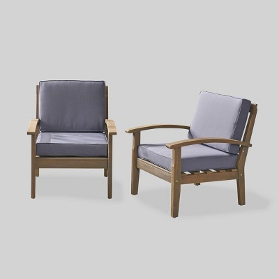 2pc acacia wood patio club chairs gray christopher knight home