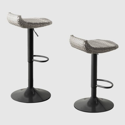 2pk all weather wicker patio barstool set gray rst brands