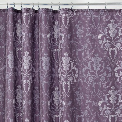 mdesign vintage damask print easy care fabric shower curtain 72 x 72 purple