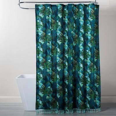 jungle print shower curtain green