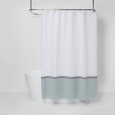 woven shower curtain green white project 62