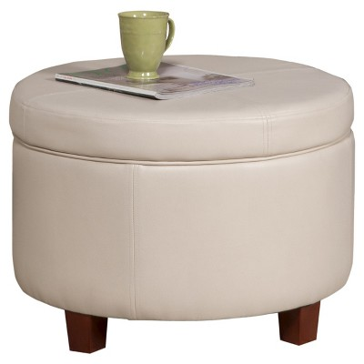 homepop large faux leather round storage ottoman ivory